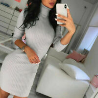 Sweater Ladies Jumper Tops Mini Dress Knitted Turtleneck Long Women Bodycon UK