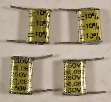 4 ERO .082uf 250VDC Polyester Film / Foil Capacitors NOS +/-10%