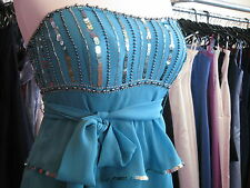 DEBUT/DEBENHAMS TEAL TURQUOISE/SILVER SEQUIN COCKTAIL/PROM/PARTY/RACES DRESS 8/6