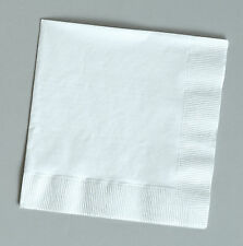 100 PLAIN White beverage/cocktail napkins for wedding/party/event, 2ply, 5""