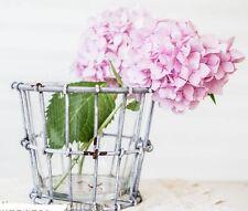 Vintage Style Wire Crate & Glass Vase Planter-Wedding Decor