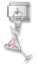 Italian Charm Dangle Pink Crystal Martini Glass Sterling Silver Free Shipping