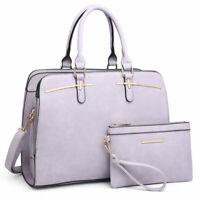 Women Faux Leather Handbags Satchel 2Pcs Purse Shoulder Bag w/ Matching Wristlet