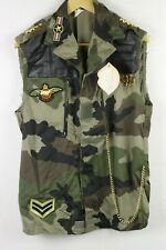 VINTAGE Mens ARMY Jacket WAISTCOAT Button Up SLEEVELESS MILITARY SLIM Small P102