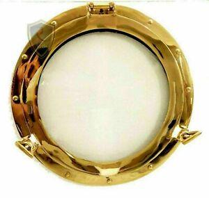 """12"""" Brass Glass Porthole Shiny Finish Boat Window Nautical Ship Décor Gift Item"""