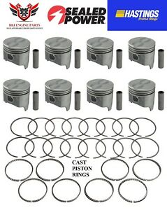 Chevy Chevrolet 283 SBC Sealed Power Pistons (8) With Hastings Rings 1957 - 1967