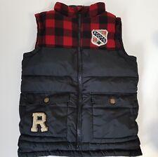 Roots Canada Kids Winter Puffer Vest Red Black Checks Ottawa Boy's M 7/8 Years