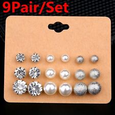9Pairs/Set Pearl Earrings Crystal Rhinestones Ear Stud Bride Wedding Jewelry