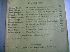 LA REVUE DE PARIS n° 15 - 1933 revue littéraire PORCHE FAYARD THERIVE etc