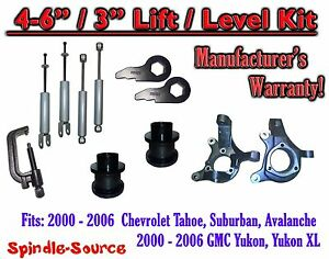 "2000- 2006 Chevrolet GMC 1500  4""-6"" / 3"" Lift Kit Spindles Spacer TOOL + SHOCKS"