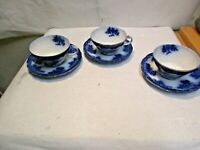 "3 vintage Waldorf Flow Blue Touraine Pattern Cups & Saucers, 4"" wide, 2.25"" deep"