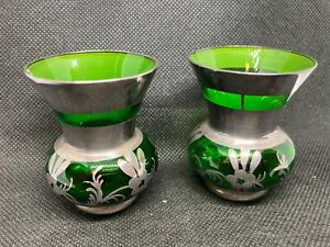 Antique Venetian Murano Art Glass Vases Pair Silver Layer Flowers Emerald Green