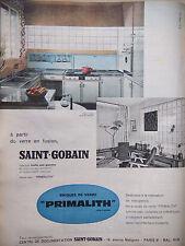 PUBLICITÉ DE PRESSE 1960 SAINT-GOBAIN BRIQUE DE VERRE PRIMALITH  - ADVERTISING