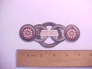 1910 PORTAGE TIRES AKRON OHIO INTERLOCKING PUZZLE TRADE CARD BALLOON TIRES
