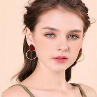 Simple Women Steampunk Style Geometric Big Circle Round Hoop Earrings Jewelry