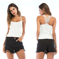 Women Sexy Casual Tank Top Vest Knitted Blouse Sleeveless Crop Shirt Cami Top