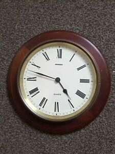 Ships Style Clock, Brass Case, Mounted on Wood Backing, Good Cond, Quartz, 11in.