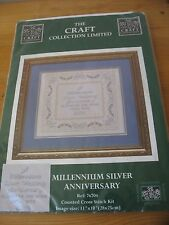 """NEW Silver Wedding Anniversary Cross Stitch Kit  by Craft Collection 11"""" x 10"""""""