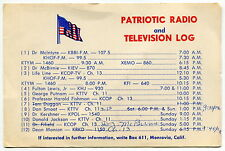 "Old TV/Radio Program Card: ""PATRIOTIC RADIO & TELEVISION LOG"" [Los Angeles]"