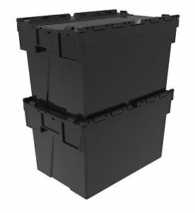 5 x NEW BLACK 65 Litre Plastic Storage Boxes Containers Crates Totes with Lids