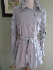$350 Michael Kors Grey Blue Ruffled Rain Coat Jacket Size 8