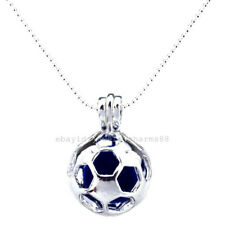 L195 Bright Silver Sports Round Football Locket Necklace Pearl Bead Cage Pendant