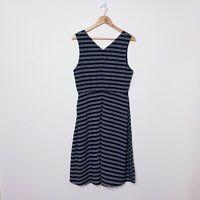 Poppy Lux Womens Size UK 16 US 10 Sicily Black White Stripe Midi Dress