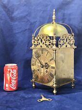 15.5 Inch Sure Large Antique English Brass Striking Lantern Key Wound Clock,Work