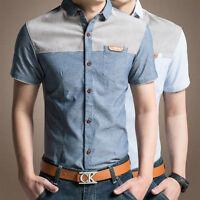 Mens Dress Shirts Short Sleeves Slim Fit Casual Formal Luxury Camisas ZD103