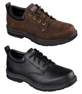 SKECHERS Men's Rugged Leather Oxfords in Medium and Extra Wide - EEE
