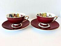 Vintage GNA Fine Porcelain 2 Sets Tea Cups Saucers  Burgundy Floral Gold Accents