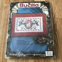Bucilla Hope Love Peace Christmas Counted Cross Stitch Sampler Kit #83077 16x9""