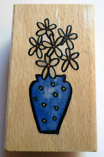 Whispers Sugar Loaf Product Daisy Flower In A Vase Pot  Wooden Rubber Stamp