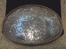 Montana Silversmiths Sterling Silver Plated Large Floral Oval Buckle