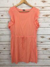 J. Crew Linen Blend Dress Peach Medium Sheath Flutter Sleeve Drawstring