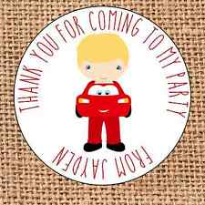 Cars themed Party bag stickers 24 thank you for coming sweet cone labels