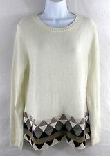 "J. CREW Women's ""Geometric Striped-Hem Sweater"" Tunic Wool Blend Ivory Large L"