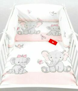 COT BED - 3 PIECES NURSERY  -140X70cm - BABY BEDDING -BUMPER-PILLOW-QUILT COVERS