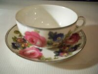 PHOENIX CHINA CECHO SLOVAKIA PINK ROSES BLUE FLORAL CUP AND SAUCER