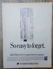 1995 print ad-United Airlines-with E-Ticket, there's no paper ticket to remember