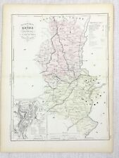 1881 Antique French Map Rhone Lyon France Rare Hand Coloured Engraving