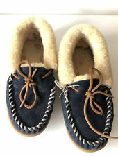 LL Bean Womens Sz 6 Blue Suede Moccasin Wicked Good Slippers Sherpa Lined (As Is