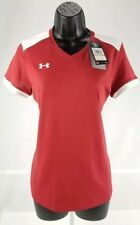 Under Armour Womens V-Neck Fitted HeatGear T Shirt Small Orange White New
