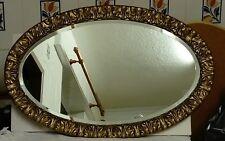 Vintage Bevel Edge Oval Mirror, Acanthus Leaf Plaster Moulding Over Wood Frame