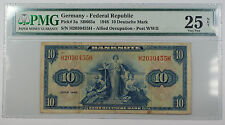 1948 Germany - Fed Rep 10 Deutsche Mark Note Pick# 5a PMG 25 Very Fine Stained