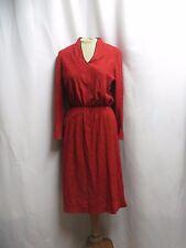 Vintage Dress 70s High Waist Knit Terry Modest Retro Berry Burgundy Secretary