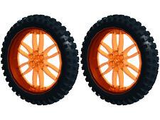 2 Lego XL MOTOCROSS Tires + Wheels (technic,bike,cycle,bicycle,motorcycle,tyre)