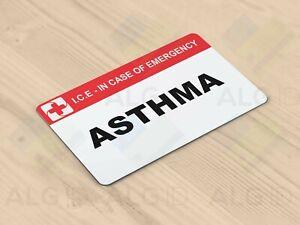 Asthma Alert - In Case of Emergency (ICE) Custom Printed Card - Fast UK Freepost