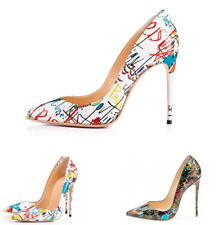 Womens Sexy Floral Printing Pointed Toe High Stiletto Heels Court Shoes Slip On