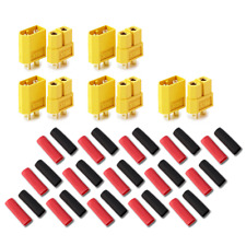 10 Stück (5 Paar) XT60 Nylon ESC Lipo Akku Stecker Buchse inkl. Schrumpfschlauch